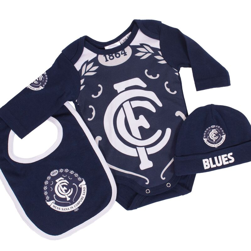AFL Carlton 3pc Bodysuit Gift Set