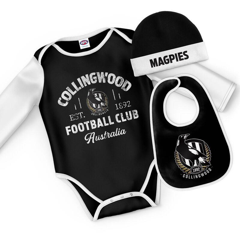 AFL Collingwood Magpies Rover 3pc Bodysuit Gift Set