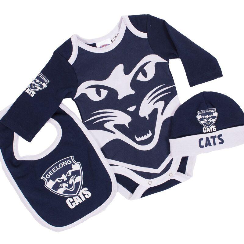 AFL Geelong Cats 3pc Bodysuit Gift Set