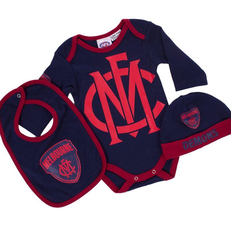AFL Melbourne Demons 3pc Bodysuit Gift Set