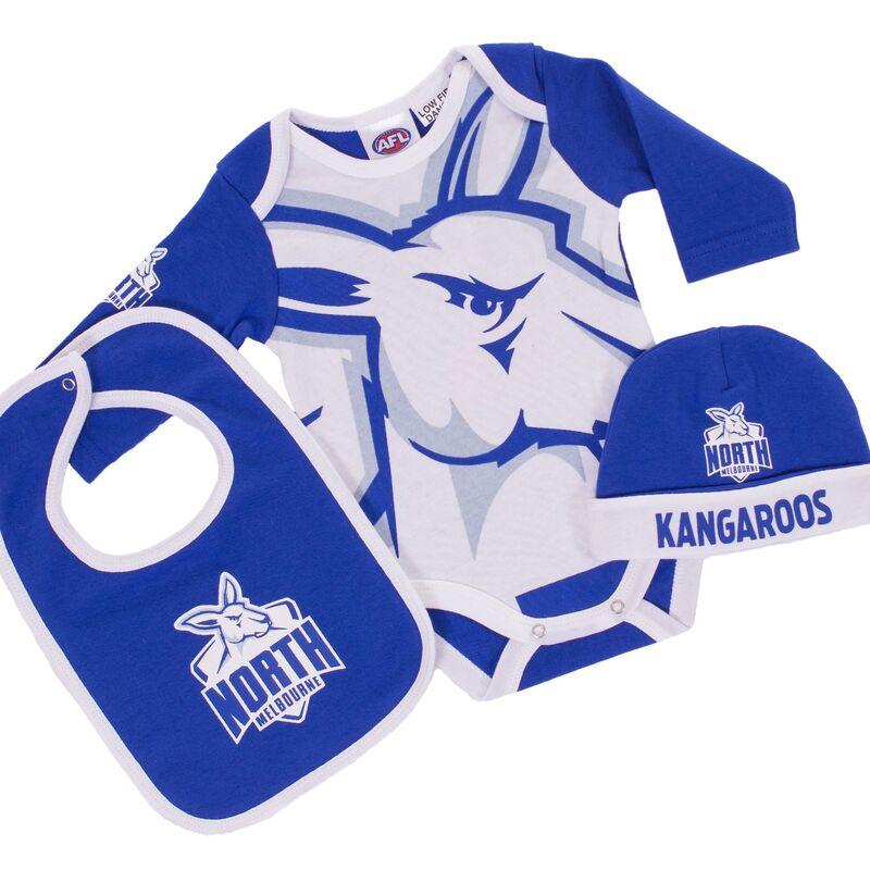 AFL North Melbourne 3pc Bodysuit Gift Set