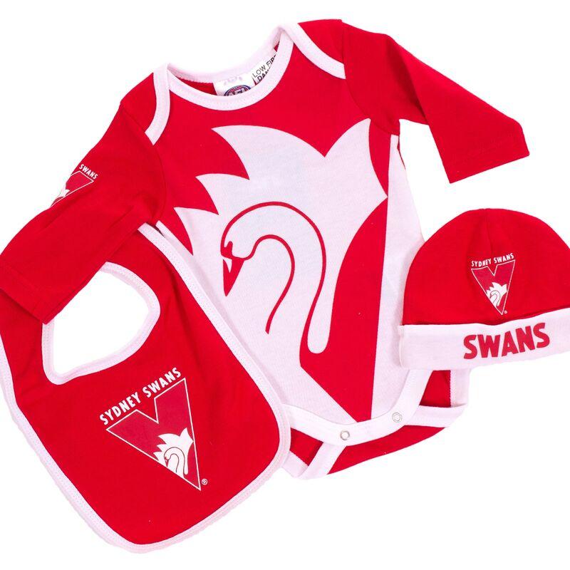 AFL Sydney Swans 3pc Bodysuit Gift Set