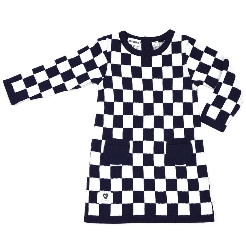 A Line Check Dress   Navy