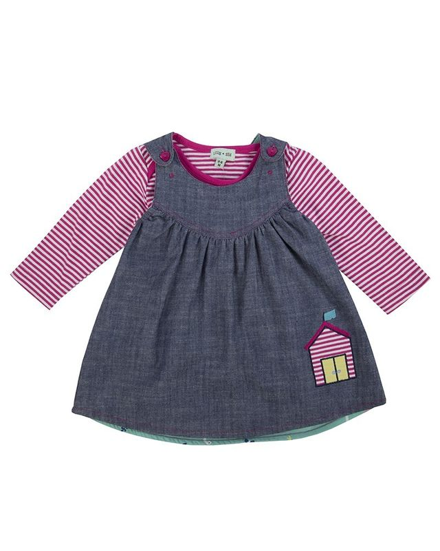 BLSBG55  Reversible Pinafore set SwanChambray