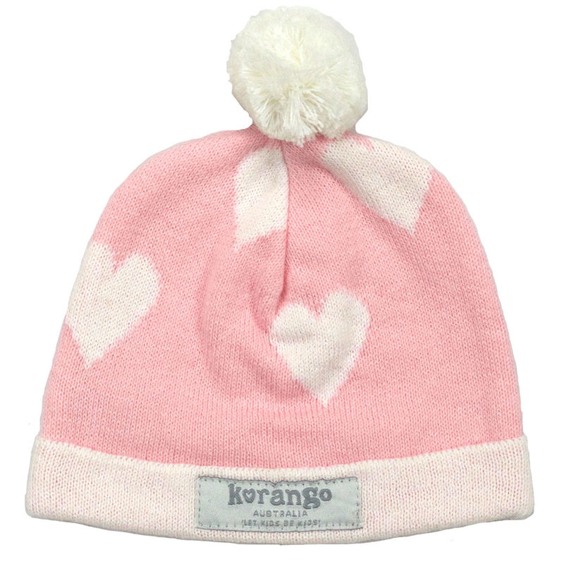 Baby Hearts Beanie  Pink