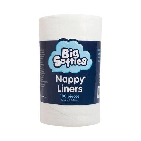 Big Softies Bamboo Nappy Liners Pack Of 100 White