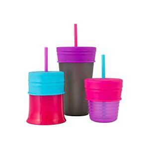 Boon Snug Straw 3pk Lids Pink Multi
