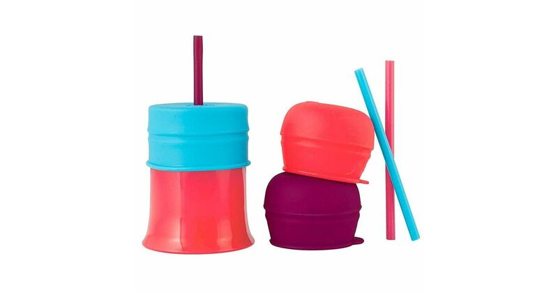 Boon Snug Straw Universal Silicone Straw Lids and Cup Pink   8oz