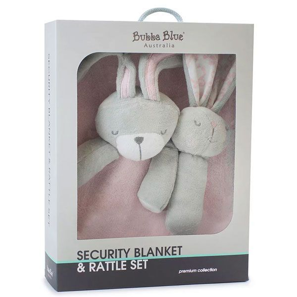 Bubba Blue Bunny Hop Security Blanket and Rattle Set