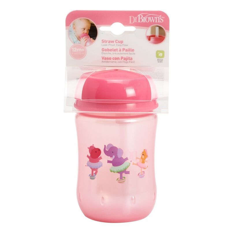 Dr Brownand39s Straw Cup 270ml  Pink