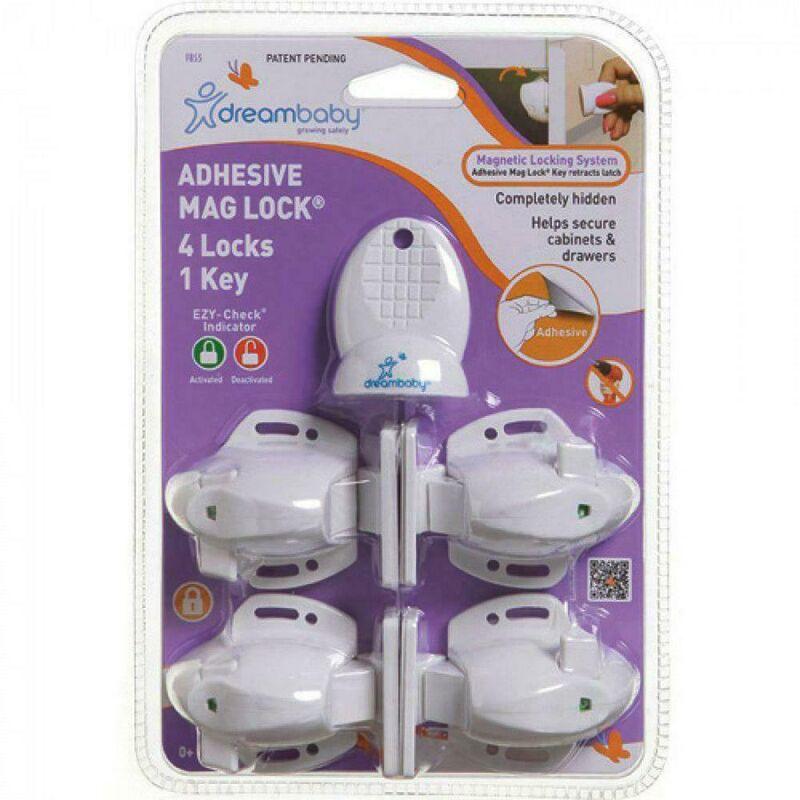 F855 Dreambaby Adhesive Mag Lock 4 Locks and 1 Key