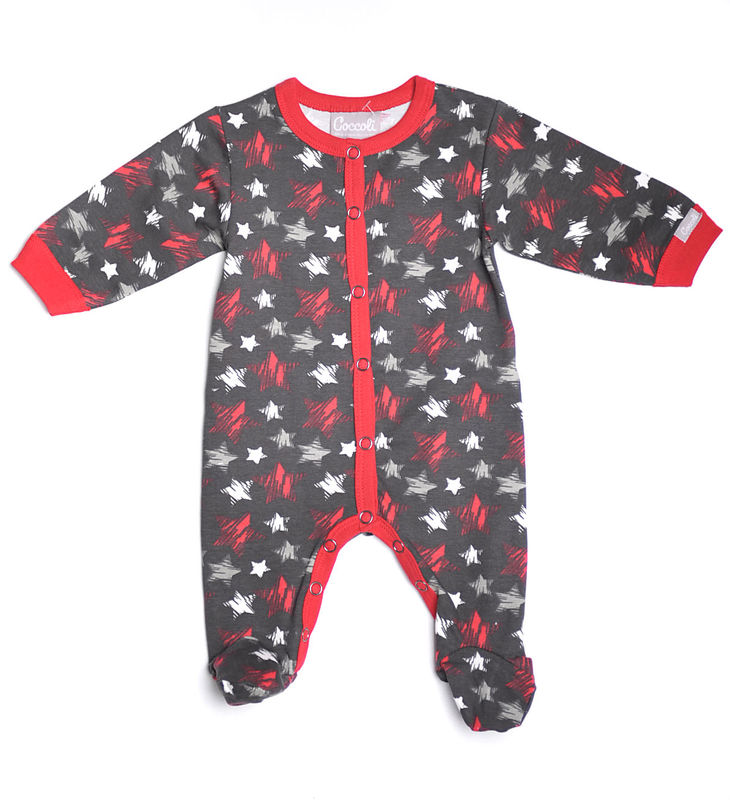 Footed Long Sleeve Romper  Star Print CR