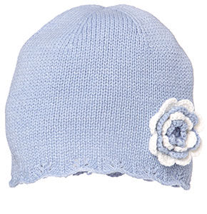 Holly Beanie, with contrast crochet flower - Blue