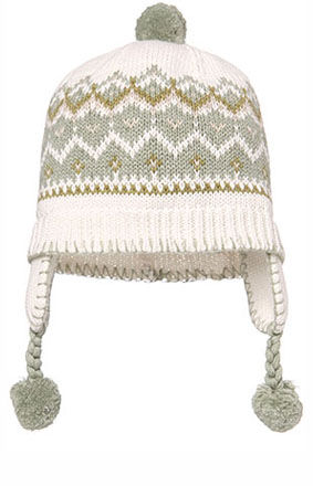 Issy Earmuff Hat, with pom-poms - Sage