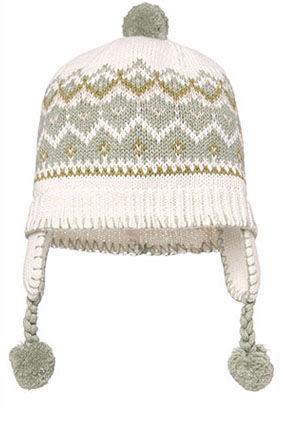 Issy Earmuff Hat, with pom-poms - Sage