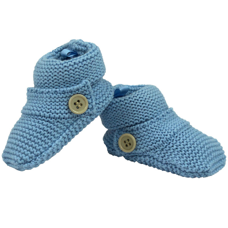 Knitted Booties Button  Blue