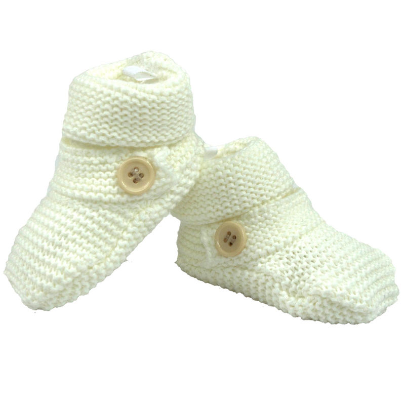 Knitted Booties Button  White