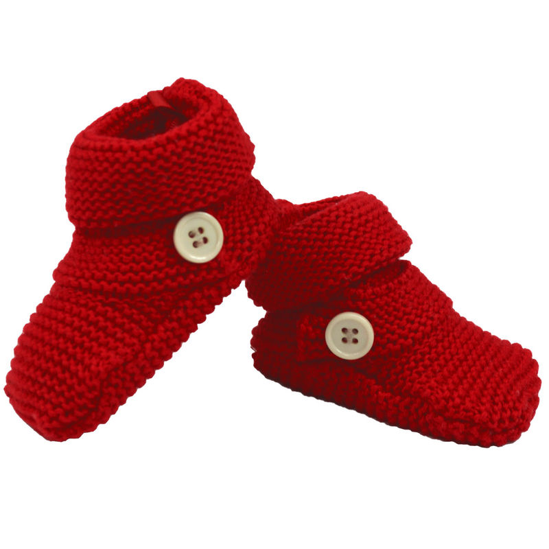 Knitted Booties Button   Red