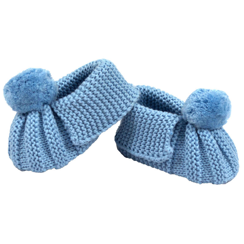 Knitted Booties Pom Pom  Blue