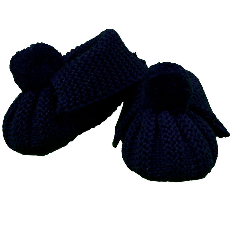 Knitted Booties Pom Pom  Navy