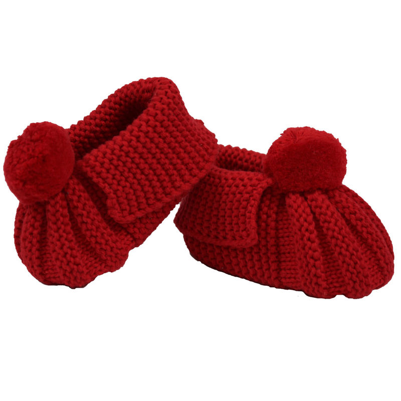 Knitted Booties Pom Pom  Red