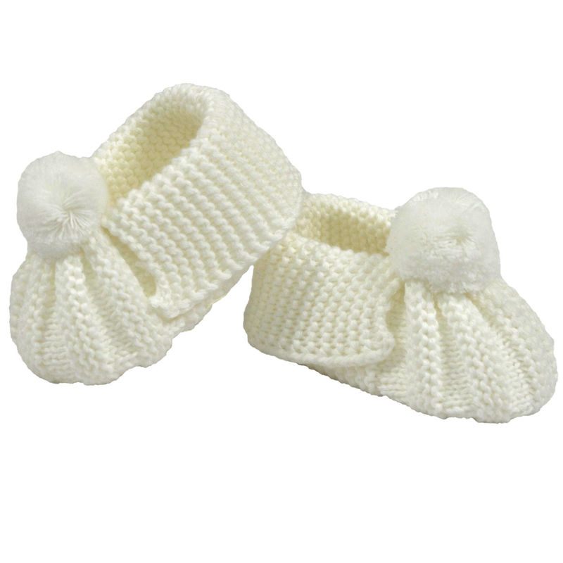 Knitted Booties Pom Pom  White