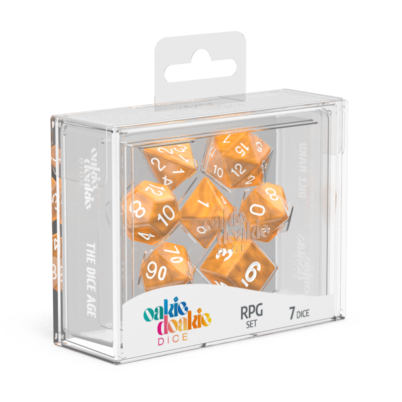 Oakie Doakie Dice RPG Set Marble  Orange