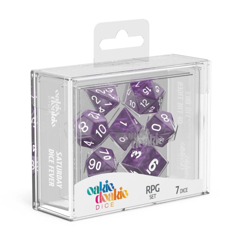 Oakie Doakie Dice RPG Set Marble  Purple