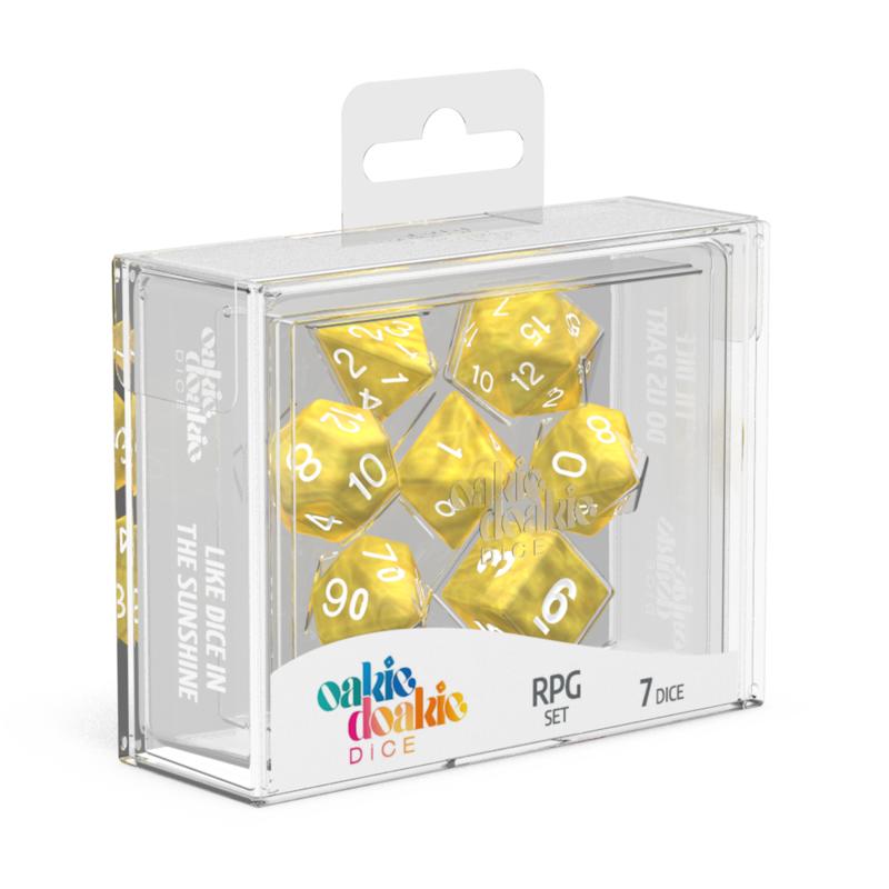 Oakie Doakie Dice RPG Set Marble  Yellow