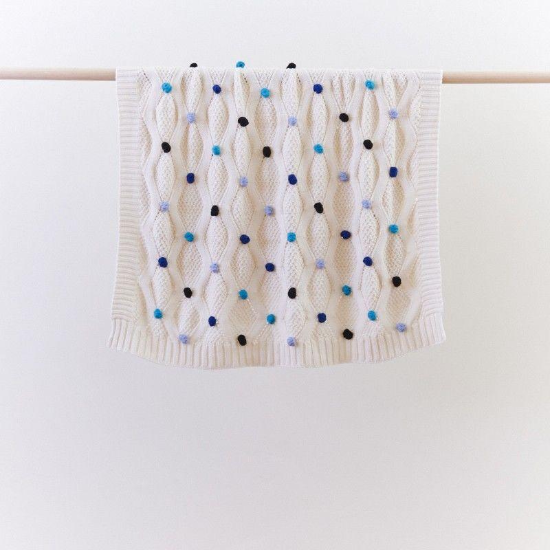 Pompom Blue Baby Blanket