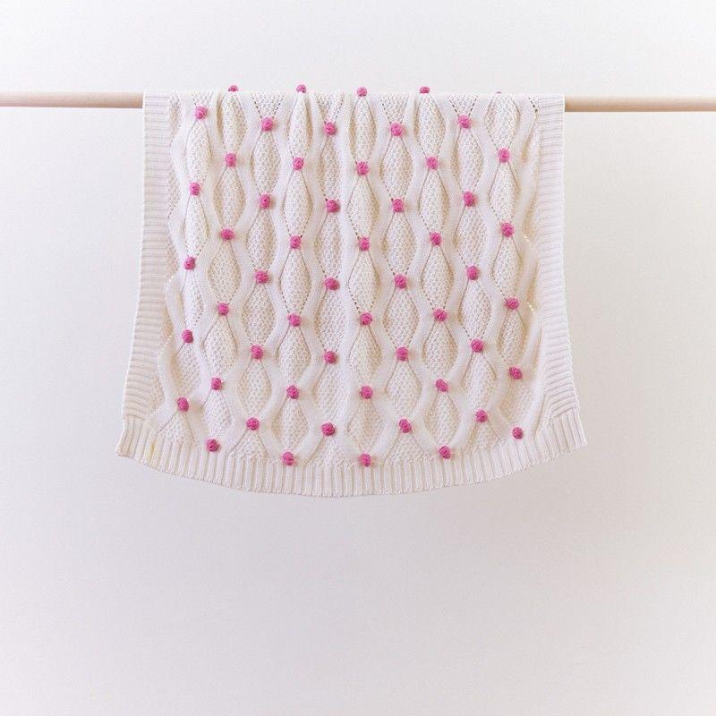 Pompom Pink Baby Blanket