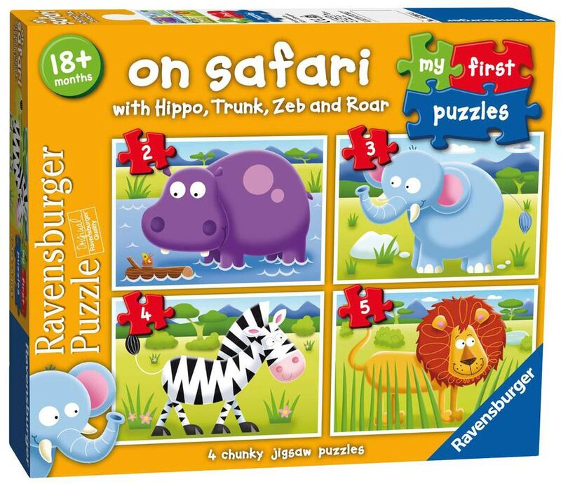 Ravensburger On Safari My First Jigsaw Puzzle 2 3 4 + 5 Piece