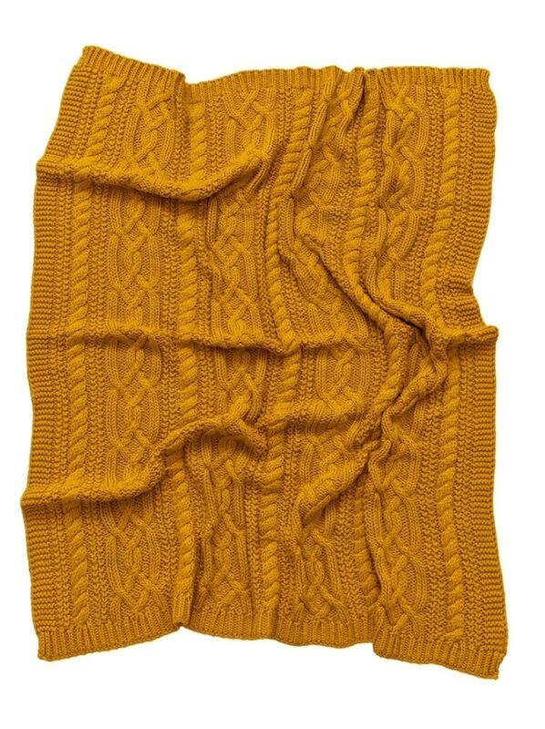 Reilly Knit Blanket  Mustard