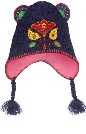 Rio Earmuff Hat, with bright applique - Blue
