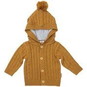 Rustic Class Lined Cable Knit Jacket  Brown