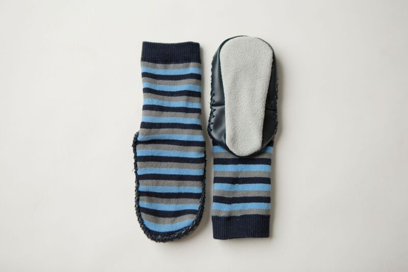 Socks Leather and Cotton Moccasin BlueGrey