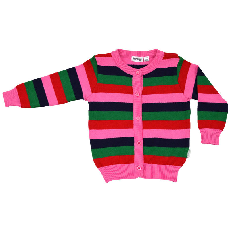 Stripes Girland39s Cardigan  Red