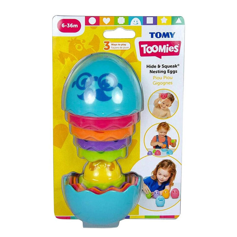 TOMY Toomies Hide and Squeak Nesting Eggs Stacking Toy
