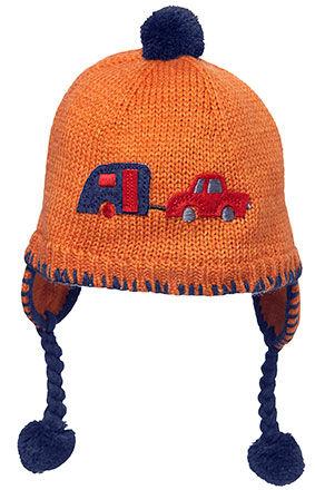 Trailer Earmuff Hat , with car & trailer applique - Orange