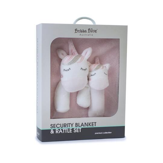 Unicorn Magic Security Blanket and Rattle Set
