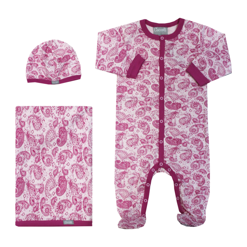W4003 Paisley Romper Beanie and Wrap Set