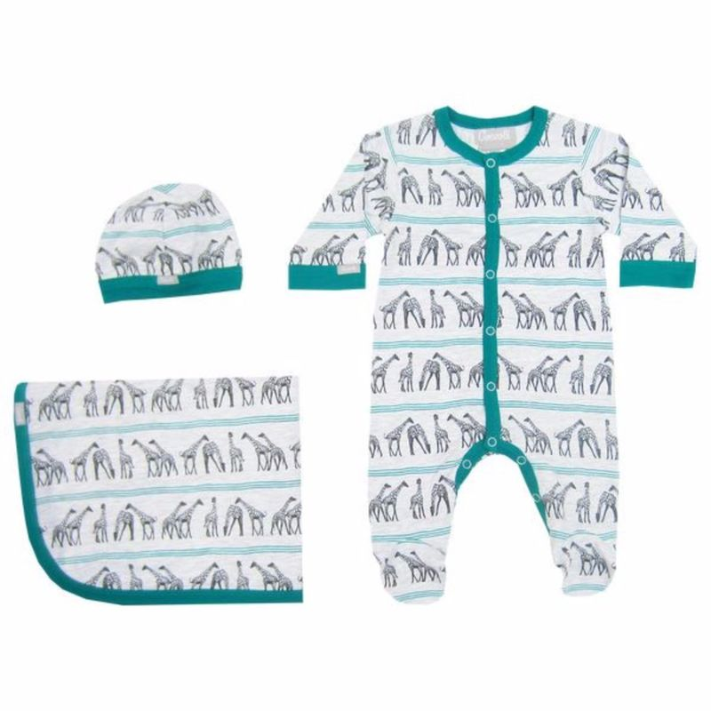 W4014 Giraffe Romper Beanie and Wrap Set
