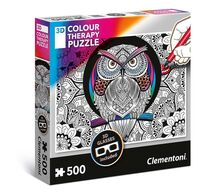 3D Color Therapy: Owl - 500 pc Jigsaw Puzzle by Clementoni
