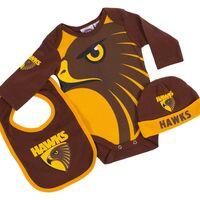 AFL Hawthorn 3pc Bodysuit Gift Set