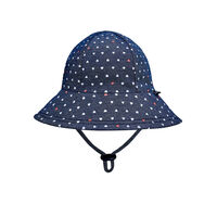 BH Hearts Ponytail Bucket Hat with Chin Strap UPF50+