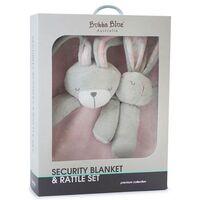 Bunny Hop Security Blanket & Rattle Set