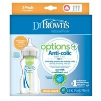 Dr Brown+39s Wide Neck Bottle 270ml 3pk