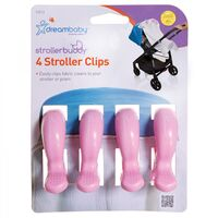 F2213 Stroller Clips 4pkt - Pink