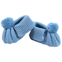 Knitted Booties Pom Pom - Blue
