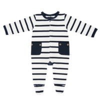 Navy Stripe Long Romper